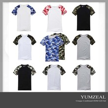 100% Cotton Collarless O-neck Short Sleeves Military Men Woodland Custom T Shirt