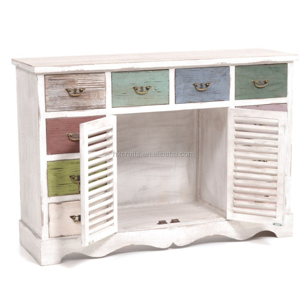 kommode in shabby chic with 10 drawers shabby chic cabinet buy shabby chic colorful wood. Black Bedroom Furniture Sets. Home Design Ideas