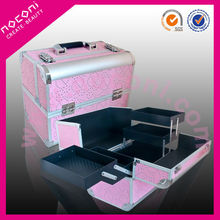 Private label promotional pink aluminum cosmetic display case cosmetic case