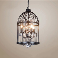 Retro iron art birdcage crystal pendant candle chandeliers with edison bulb