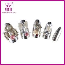 Hot sell sliver glitter 3d alloy nails arts design decoration pearl kont and loving crystal