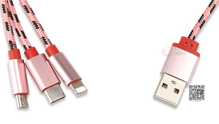 3 В 1 USB Кабель Нейлон Плетеный, Все В Одном Зарядки Шнур, Многофункциональный Мобильный USB Кабель