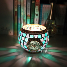 Blue mosaic glass candle holder home decor wedding party favours wholesale