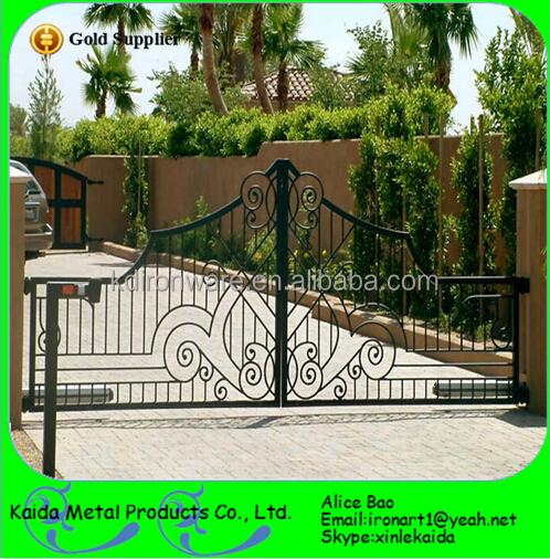 Elegant wrought iron driveway gate design decorative house villa view wrought iron driveway - Wrought iron indoor decor classy elegance ...