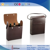 High quality leather wine packaging carrier,3 bottles gift box