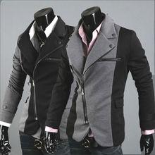 Men's Blazer leisure fashion Cool Slim Sexy Casual Blazer Suit Top Zip Dress Jacket