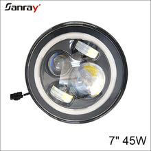 New product 12V 24V round black housing 7inch LED headlight for motorcycle with Halo H4 H13