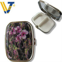 two cases metal pill boxes with custom logo