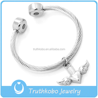 Small Angel Wing Cremation Bracelet Opening Stainless Steel Cremation Memorialize Jewelry Bracelet For Pet