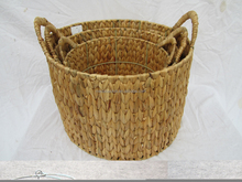 water hyacinth laundry basket with plastic handle