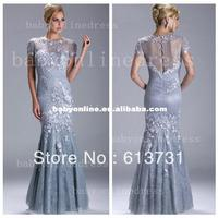 Wholesale - 2013 Sexy Silver Evening Dresses Short Sleeves Beaded Mermaid Mother Of The Bride Dresses w035