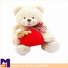 Meet EN71 and ASTM standard ICTI plush toy factory stuffed plush bear teddy with heart