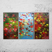 Handmade Picture On Canvas Modern Painting Maple Leaf Oil Painting Abstract Landscape Group Paintings
