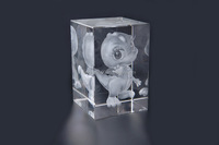 3D Laser engraving carton image k9 Crystal glass cube block for new year present Christmas gift