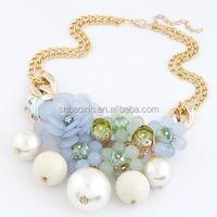 Art Light Blue Fashion New Design Pearls&Flower Alloy Fashion Necklaces