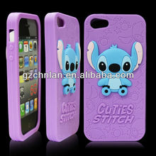 Stitch design silicon Case 3d silicon animal case for iphone 5