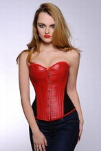 2015 Most Popular Designer Red Leather Mature Sexy women corsets plus size lingerie #PU03