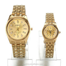 Fashion diamond calendar watch innterparticle gold lovers watch on line