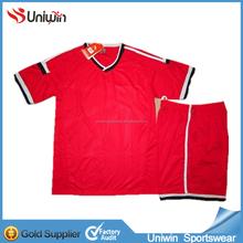 Red training soccer uniform set,top quality blank soccer wear