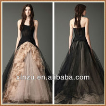 New Arrival Strapless Black And Champagne A-line New Model 2013 Wedding Dress