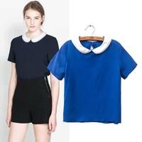 14397 New Arrival 2014 Spring Summer Short Sleeve Pearl Collar Women Short T-Shirt