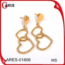 arete bisuteria fashion jewelry Pendientes de corazón de oro colgante pendiente