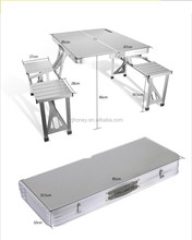camping foldable aluminium contecting table and chairs