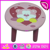 Kid's wooden round chair toy with beautiful picture,Bear round stool for children,cute wooden toy round chair for baby WJ278100