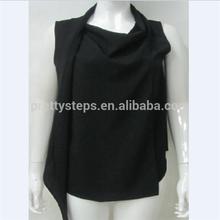 Pasos bastante 2015 CDC moda negro corte atractivo diseño señora SCARF blusa & top en línea