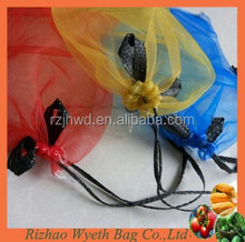 pe drawstring vegetable packaging mesh mono bags
