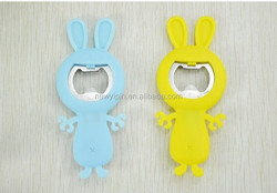 2015 Advertising rabbit shaped embossed silicone/soft pvc wine bottle opener for decoration and gifts