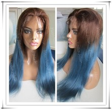 "New Fashion! Grade 7A 22"" 100% Virgin Brazilian Human Hair Ombre Blue Straight Full Lace Wigs Free Shipping"