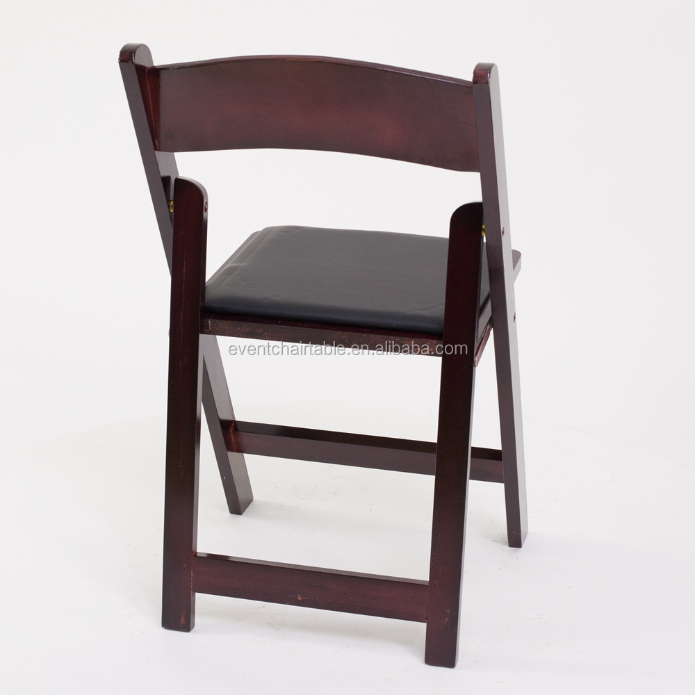 Wood Mahogany Stackable Folding Chair