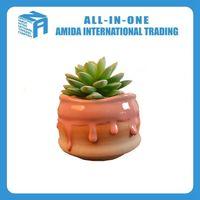 pumpkin color pottery flower pot