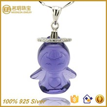 Angel crystal pendant 925 sterling silver fashionable jewelry fashion necklace wholesale gold plated statement jewellery