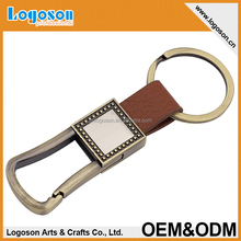 Promotion antique brown handmade genuine custom leather keychain keyring wholesale