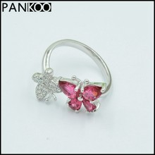 New Style!!!Wedding Ring Two Butterfly shaped Pink Crystal Inlay CZ 925 Sterling Silver Ring