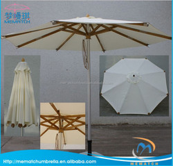 Aluminum luxury Outdoor patio garden parasol umbrella wood garden umbrella with wood ribs