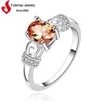 Luxury rose quartz silver ring for wedding