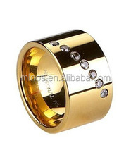 12mm Gold Epoxy Plating and Zircon Inlaid Tungsten Ring