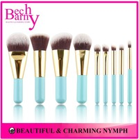 9 Pieces Synthetic Lovely Hair Lemon Green Handle Cosmetic brushes kit Mini Makeup Brush
