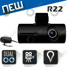 newest mini x3000 HD 720P GPS G-Sensor car automobile camera with extra dual camera DVR-R22