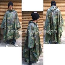 Durable Cheap Mens Hooded PE Army Green Poncho