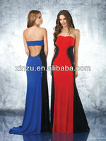 Strapless beaded bodice open back floor length color combination evening dress
