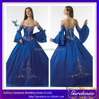 High Quality Best Selling Ball Gown Detachable Sleeves Embroidered Royal Blue Wedding Dress Gothic Wedding Gown (ZX692)
