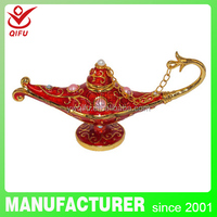 Enamel pewter magic aladdin genie lamp metal jewelry box for wholesale(QF2654)