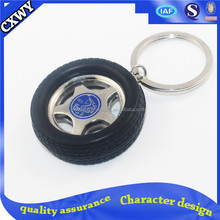 Rubber and metal keychain with keyring