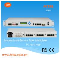 modular support SNMP management,16 ways telephone card+4*E1+4*ethernet+4*v.35+4*v.24 over fiber ,voice data telecom equipment