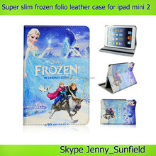 Super slim movie character frozen folio leather case for ipad mini 2 , for ipad mini 2 case frozen