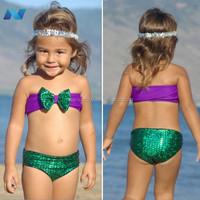 New Kids Girl Wear Crop Tops Bow Decor and Print Briefs 2PCS Swimsuit Beach Swimwear